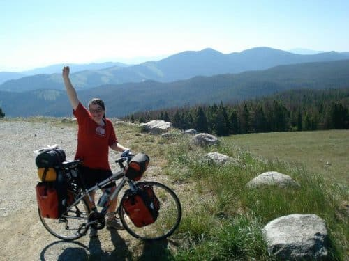 Mountain top celebration on Teen Treks Across America summer bicycle tour.