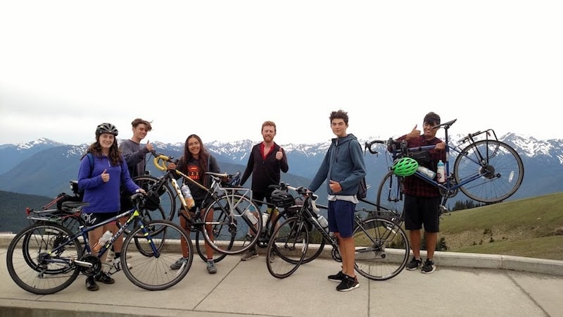 mountain top with bikes teen treks