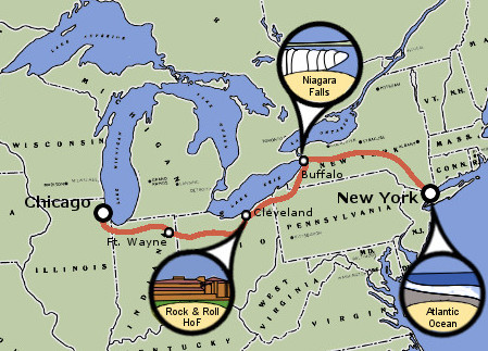 1000 Mile Bicycle Trip Map