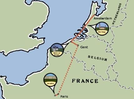 Amsterdam Paris Bicycle Tour Map