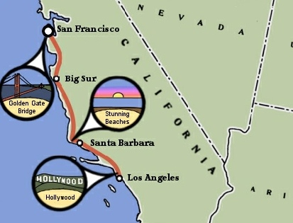 California Coast Bicycle Trip Map