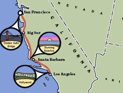 California Coast Bicycle Trip Map