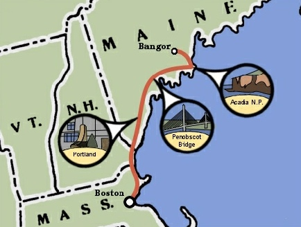 Maine Coast Bicycle Trip Map