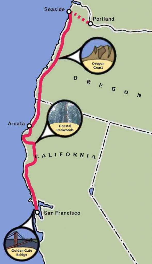 Redwood Coast Bicycle Trip Map